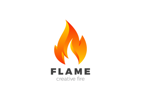 Illustration for Fire Flame Logo design vector template. Burning Inferno Energy Power 3d Logotype concept icon - Royalty Free Image