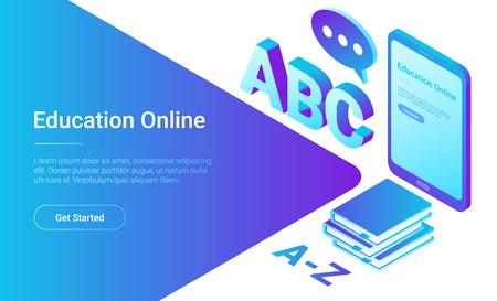 Illustration pour Online Education Isometric Flat vector Tablet PC with Books concept - image libre de droit