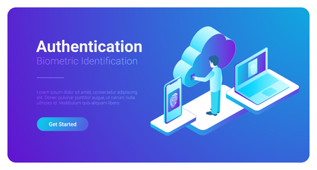 Ilustración de Isometric Authentication Biometric identification vector illustration. Man touches screen to get access to Cloud data by fingerprint - Imagen libre de derechos