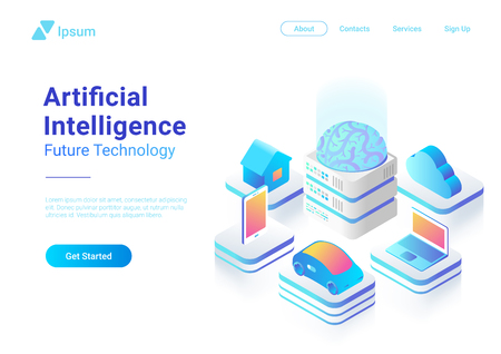 Illustrazione per Isometric flat Artificial Intelligence digital Brain future technology colorful concept vector design. Laptop Electric Car Smartphone Brain House objects of AI - Immagini Royalty Free