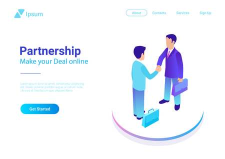 Illustration pour Isometric Flat two Businessmen making Deal vector illustration. People shaking hands making contract online. Partnership concept - image libre de droit
