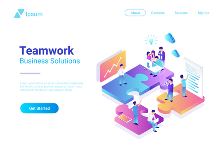 Ilustración de Isometric Flat vector Management Teamwork Business People on Puzzle parts. Finance Concept illustration - Imagen libre de derechos