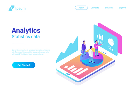 Illustrazione per Isometric Flat Analytics Marketing Strategy Vector Illustration. People standing on Smartphone with Statistics Charts - Immagini Royalty Free
