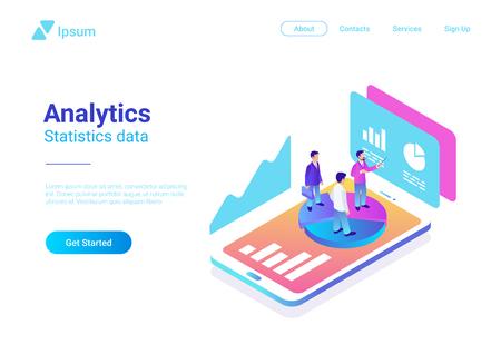 Ilustración de Isometric Flat Analytics Marketing Strategy Vector Illustration. People standing on Smartphone with Statistics Charts - Imagen libre de derechos