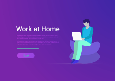 Illustrazione per Flat style work at home vector banner template. Man freelancer working laptop computer PC at workplace armchair. Teleworking and freelance - Immagini Royalty Free