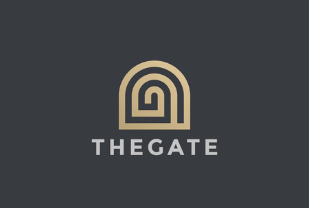 Illustration for Gate Entrance Religion Church Resort Luxury Hotel Apartment icon design vector template Linear style - Royalty Free Image