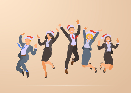 Illustrazione per Jumping Dancing Happy Business Office People Christmas Corporate Party Holidays flat vector illustration - Immagini Royalty Free