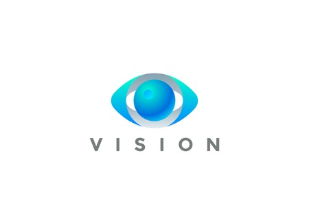 Ilustración de Eye Logo Vision 3D design vector template. Security Video Photo Optic Lens Spy Virtual Camera Logotype concept icon - Imagen libre de derechos