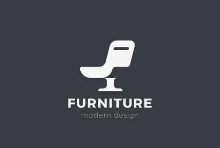 Ilustración de Armchair Furniture Logo design vector template Negative space style. Chair silhouette Logotype concept icon - Imagen libre de derechos