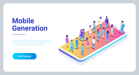 Illustration pour Mobile generation template with crowd of casual micro people on smart phone touch screen flat 3d web isometric infographic concept vector. Communication addiction - image libre de droit