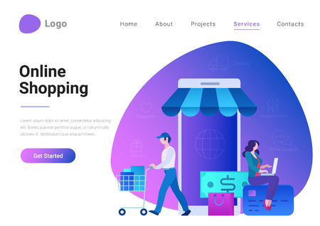 Illustrazione per Shopping Online E-commerce Flat style landing page banner vector illustration. Electronic business, sales concept. Man and woman near store shop as smartphone - Immagini Royalty Free