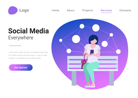 Illustrazione per Social Media Technology Mobile Lifestyle Flat style vector illustration landing page banner. Young woman consuming online content holds smartphone in hand on background with virtual network - Immagini Royalty Free