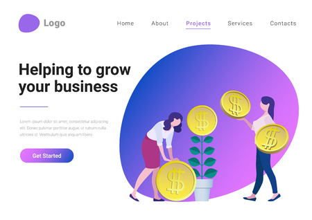 Ilustración de Successful Business Strategy Consulting Investment Flat style vector illustration landing page banner. Businesswoman helping take more coins from money tree. Entrepreneur grows plant with coin flower - Imagen libre de derechos