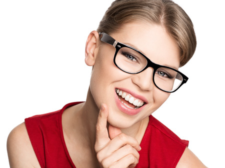 Photo for Happy smiling optician woman wearing spectacles, isolated on white background  Portrait of beautiful blond stylish female model in fashionable eyeglasses  - Royalty Free Image