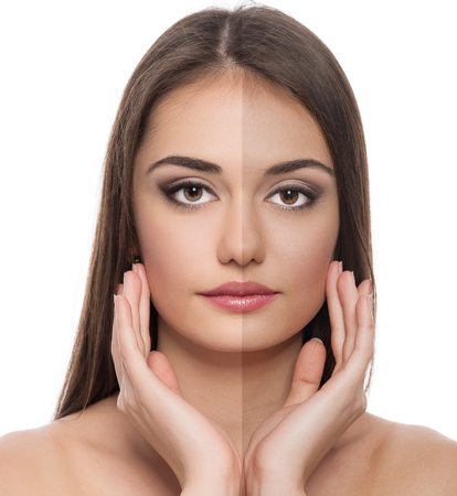 Solar protection  Close-up of beautiful Caucasian woman face before and after tan