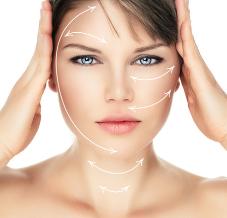 Photo pour Laser therapy on pretty woman face over white background. Young attractive Caucasian female ready for cosmetic operation. - image libre de droit