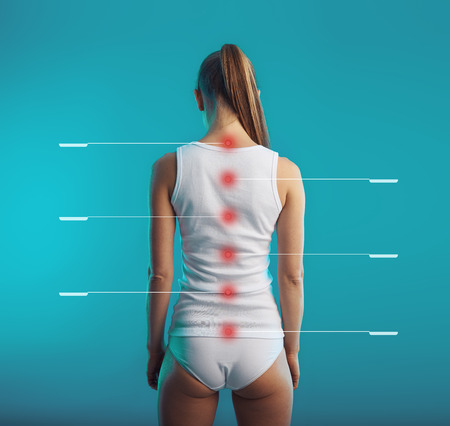 Photo for Spinal cord tagged. Young woman with healthy backbone and posture. Concept of vertebral column and nerves system treatment. - Royalty Free Image