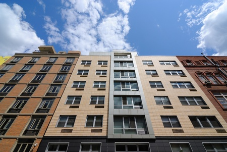 Modern apartment buildings on the Lower East side of Manhattan.