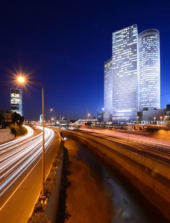 Skyline of Tel Aviv, Israel above the Ayalon Highway