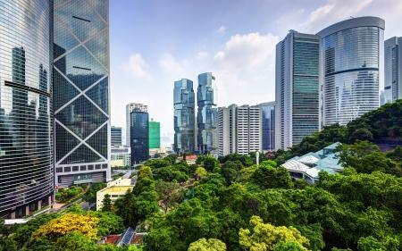 Photo pour Modern skyscrapers viewed from Hong Kong Park in Hong Kong, China. - image libre de droit