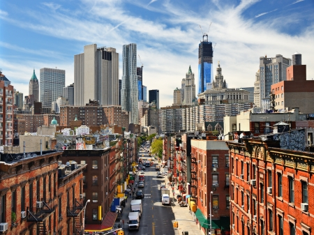 Photo pour Lower Manhattan Cityscape in New York City. - image libre de droit
