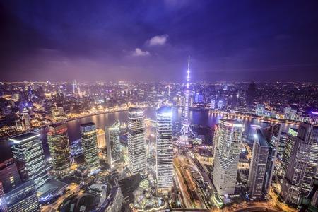 Photo pour Shanghai, China aerial view of the Pudong financial district. - image libre de droit