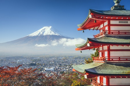 Mt. Fuji, Japan viewed from Chureito Pagoda in the autumn.