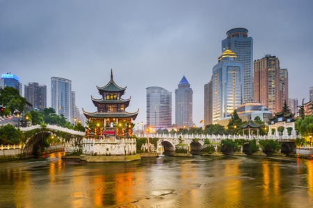 Photo for Guiyang, China city skyline on the river. - Royalty Free Image