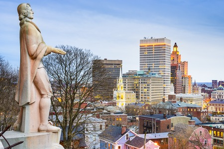 Foto de Providence, Rhode Island city skyline from Prospect Terrace Park. - Imagen libre de derechos