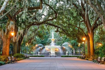 Foto de Savannah, Georgia, USA at Forsyth Park Fountain. - Imagen libre de derechos