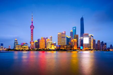 Photo for Shanghai, China city skyline on the Huangpu River. - Royalty Free Image