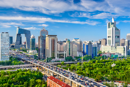 Photo for Beijing, China cityscape at the CBD. - Royalty Free Image