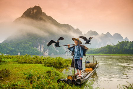 Photo for A traditional cormorant fisherman works on the Li River Yangshuo, China. - Royalty Free Image
