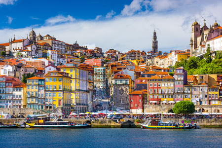 Photo for Porto, Portugal old town skyline from across the Douro River. - Royalty Free Image