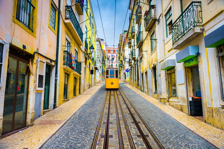 Photo for old town streets and street car in Lisbon, Portugal - Royalty Free Image