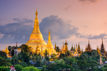 Photo for Yangon, Myanmar view of Shwedagon Pagoda at dusk. - Royalty Free Image