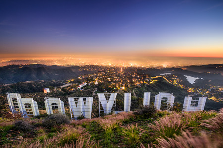 Photo for LOS ANGELES, CALIFORNIA - FEBRUARY 29, 2016: The Hollywood sign overlooking Los Angeles. The iconic sign was originally created in 1923. - Royalty Free Image