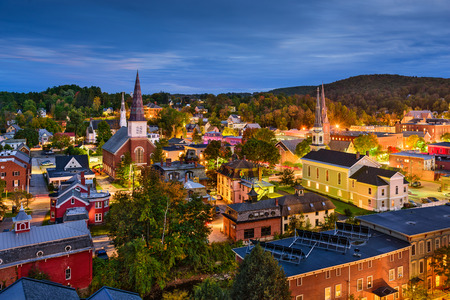 Photo for Montpelier, Vermont, USA town skyline at twilight. - Royalty Free Image
