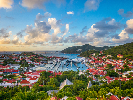 Photo pour Saint Barthelemy skyline and harbor in the West Indies. - image libre de droit