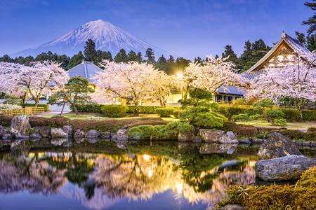 Fujinomiya, Shizuoka, Japan with Mt. Fuji in spring.