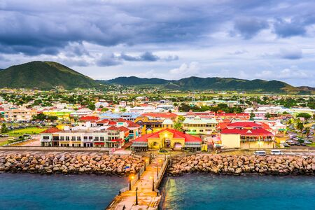 Photo pour Basseterre, St. Kitts and Nevis town skyline at the port. - image libre de droit