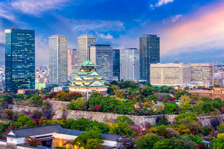 Photo pour Osaka, Japan cityscape and castle. - image libre de droit