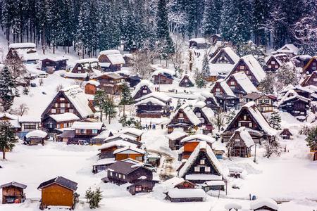 Photo pour Shirakawago, Japan historic winter village. - image libre de droit
