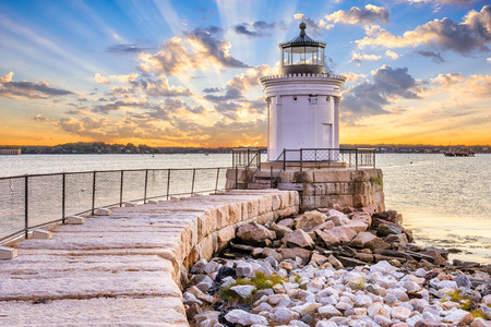 Photo for South Portland, Maine, USA at the Portland Breakwater Light. - Royalty Free Image