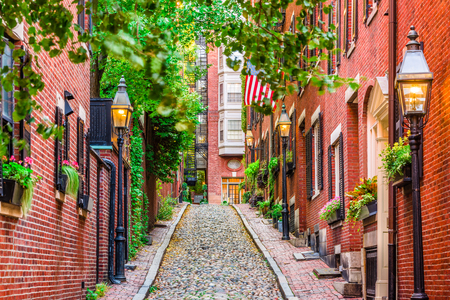 Foto de Acorn Street in Boston, Massachusetts, USA. - Imagen libre de derechos