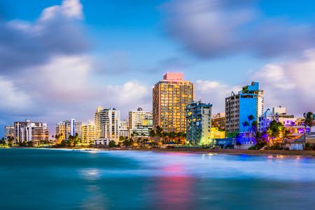 Photo pour San Juan, Puerto Rico skyline on Condado Beach. - image libre de droit