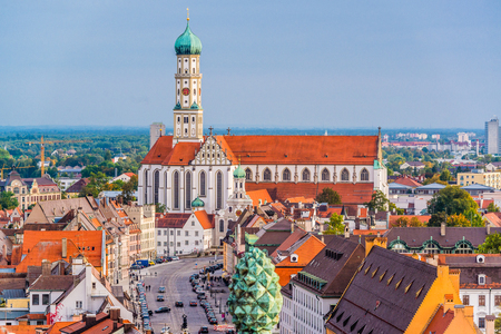 Photo pour Augsburg, Germany skyline with cathedrals. - image libre de droit