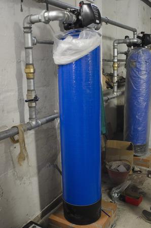 Photo pour View of water softeners in industrial plant - image libre de droit