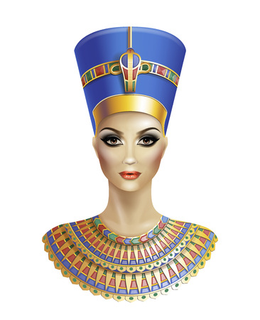 Illustration for Egyptian queen Nefertiti isolated on white background. - Royalty Free Image