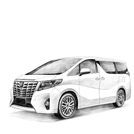 Ilustración de car Toyota Alphard sketch vector graphics black and white drawing - Imagen libre de derechos